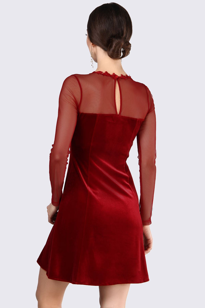 Back Button Velvet Red Dress (Size 40)