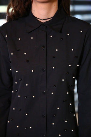Pearl Embroidered Black Shirt