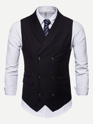 Men Double Breasted Pointed Hem Waistcoat