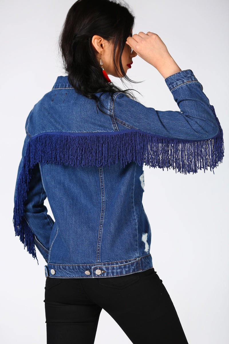 Fringed Navy Blue Denim Jacket