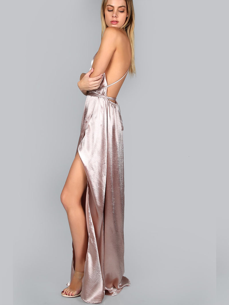 Plunge Neck Crisscross Back High Slit Wrap Cami Dress
