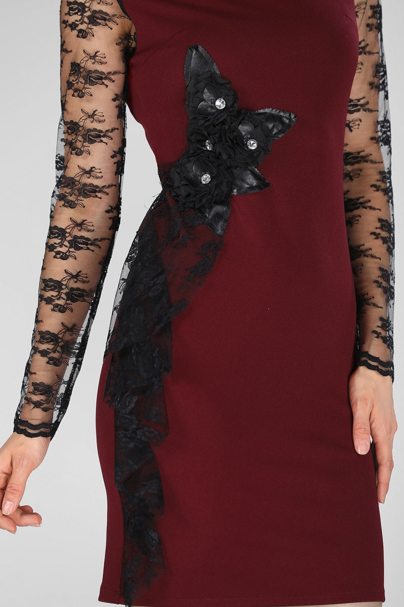 Lace Embroidered Claret Red Dress