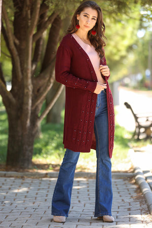 Beaded Claret Red Cardigan