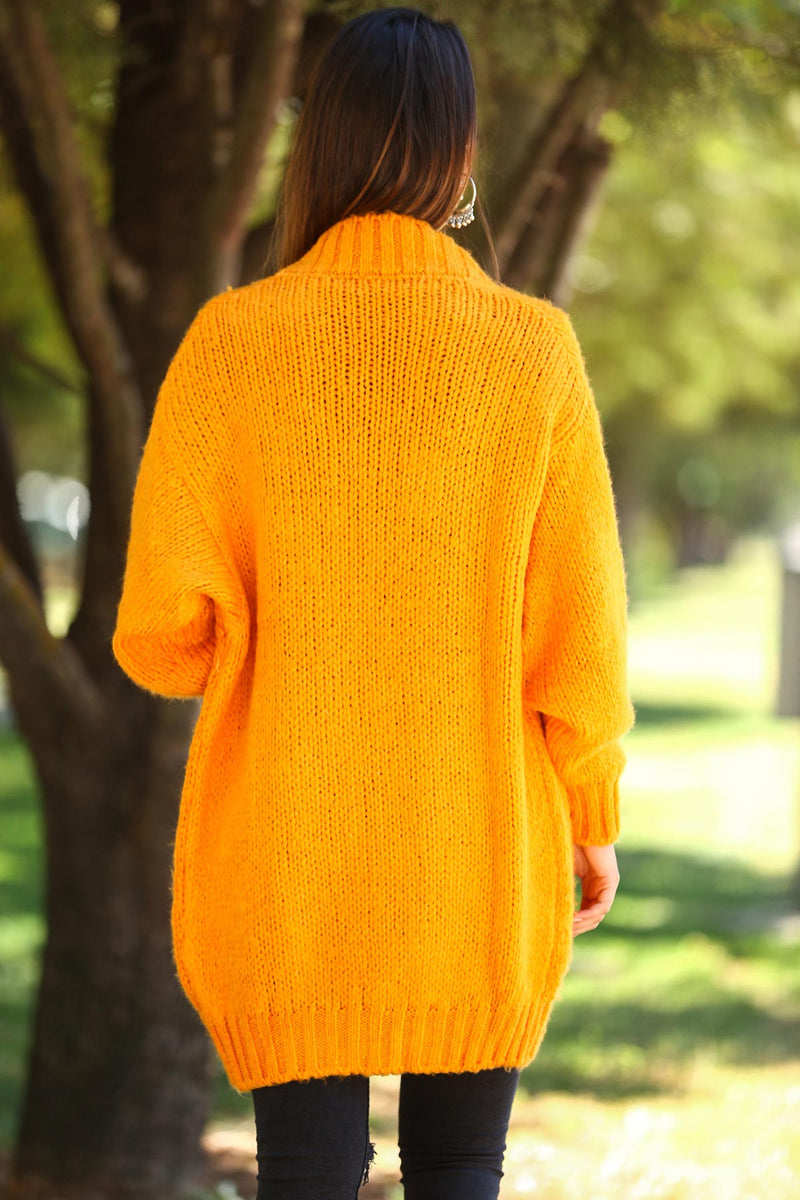 Pocketed Orange Cardigan