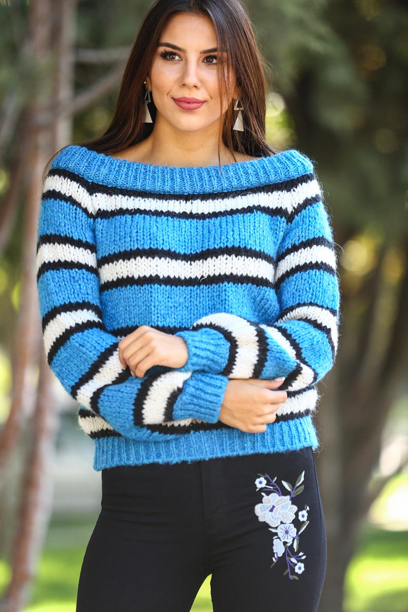 Boat Neck Patterned Pullover