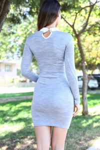 Women's Shirt Neck Tricot Grey Dress