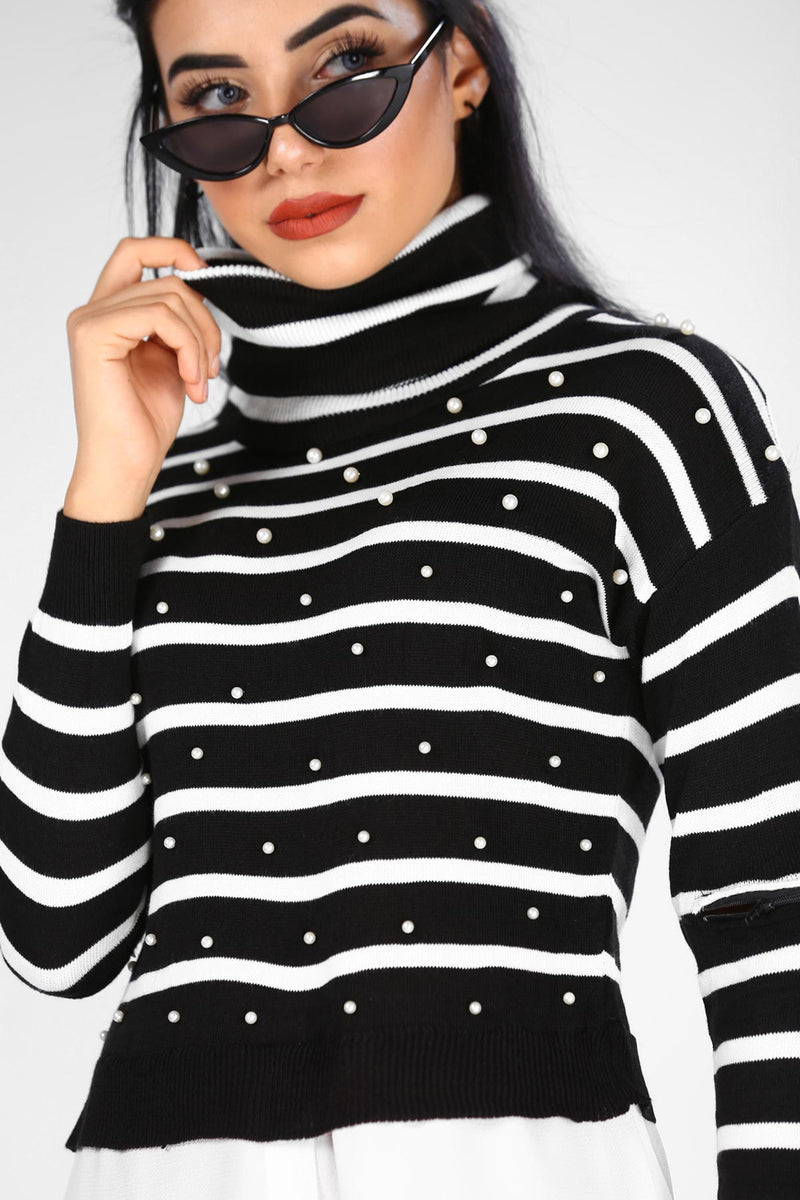 Women's Pearled Tricot Striped Sweater