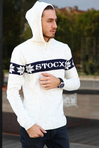 Hooded Patterned Tricot Sweater