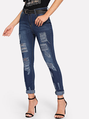 Ripped Faded Wash Jeans