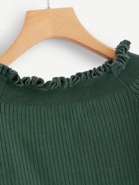 Frill Trim Ribbed Knit Sweater