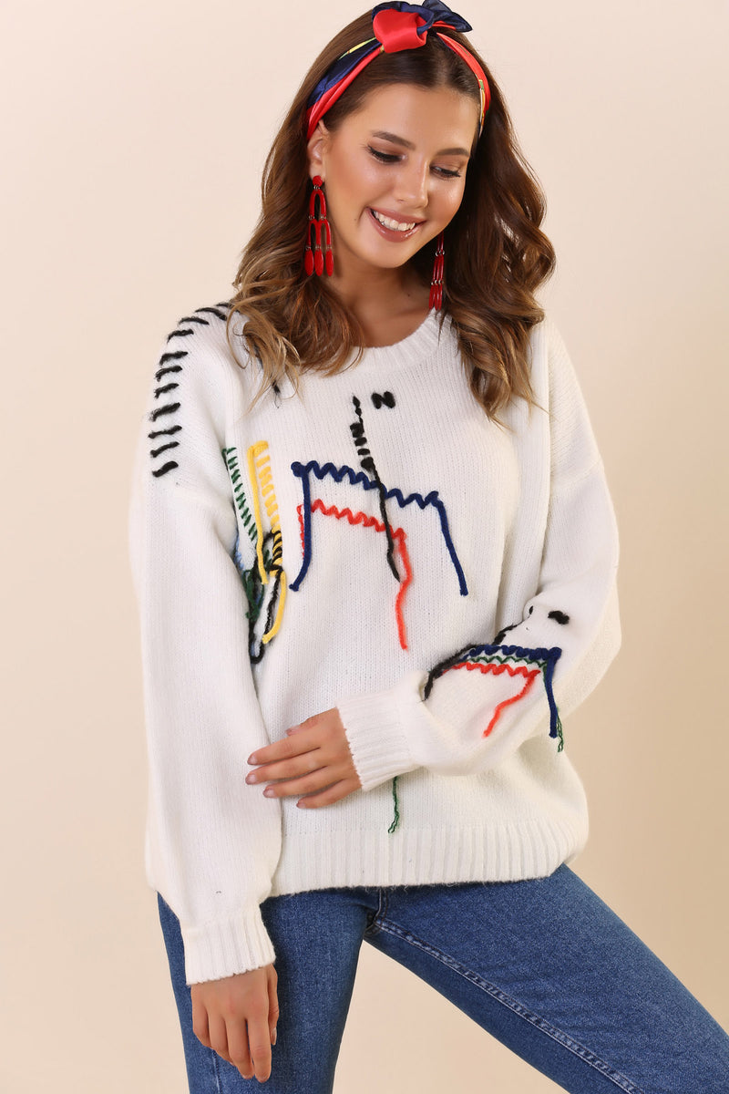 Crew Neck Detailed Ecru Tricot Sweater