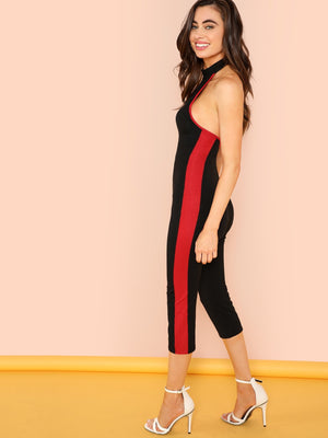 Contrast Tape Side Form Fitting Halter Jumpsuit