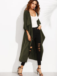 Rolled Up Sleeve Split Back Self Tie Coat