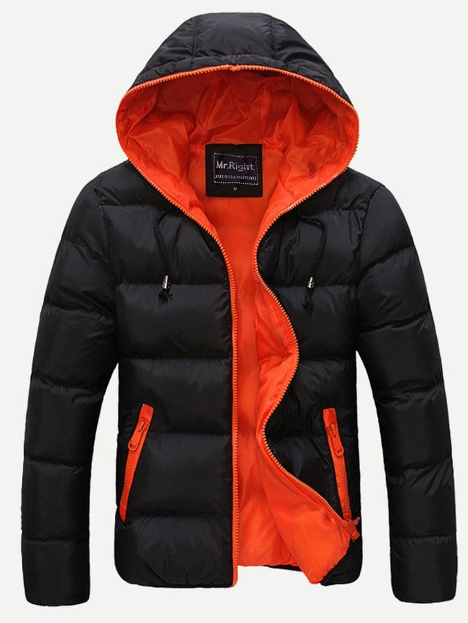 Men Zip Up Hooded Padded Coat