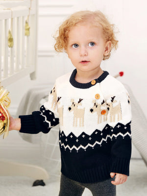 Toddler Boys Elk Print Knitwear