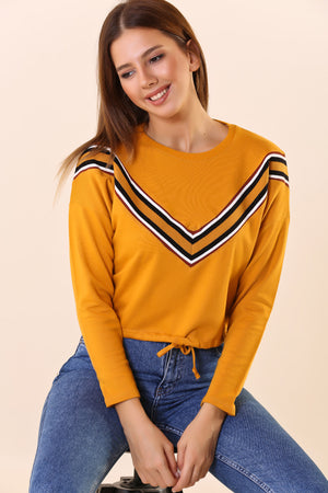 Shirred Waist Lace-up Mustard Sweat
