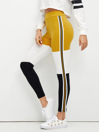 Wide Waistband Color Block Leggings