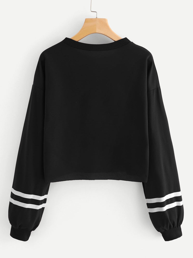 Christmas Print Varsity Striped Crop Sweatshirt