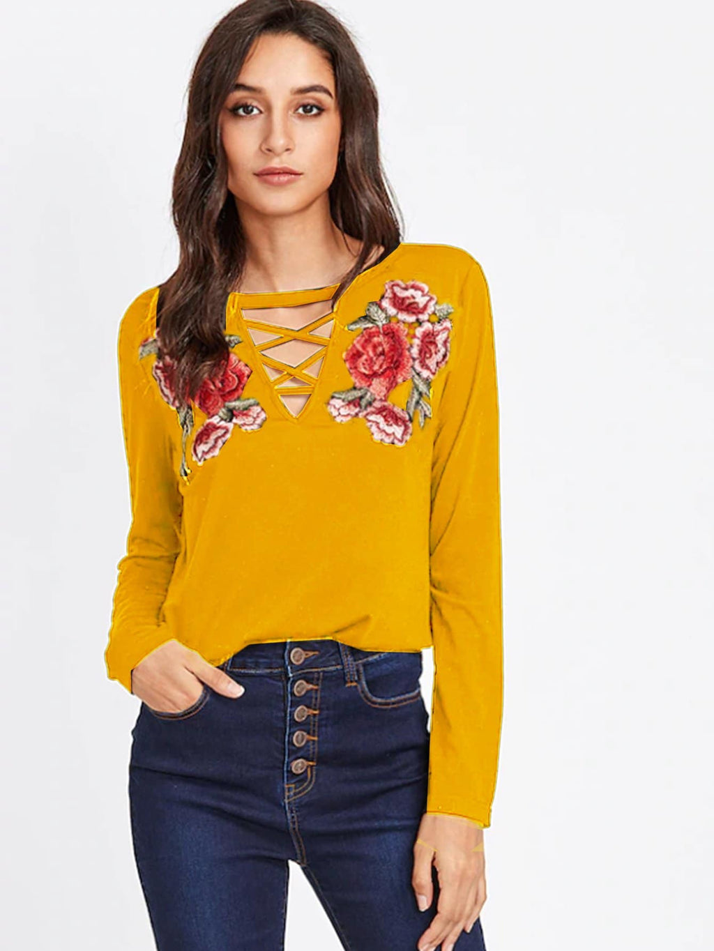 Embroidery Patch Crisscross V Neck Top