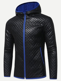 Men Zip Front PU Hooded Jacket