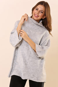 Wide Cut Gray Tricot Sweater
