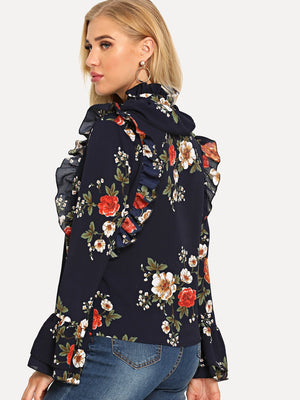 Flower Print Bell Sleeve Blouse