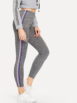 Striped Tape Side Marled Knit Leggings