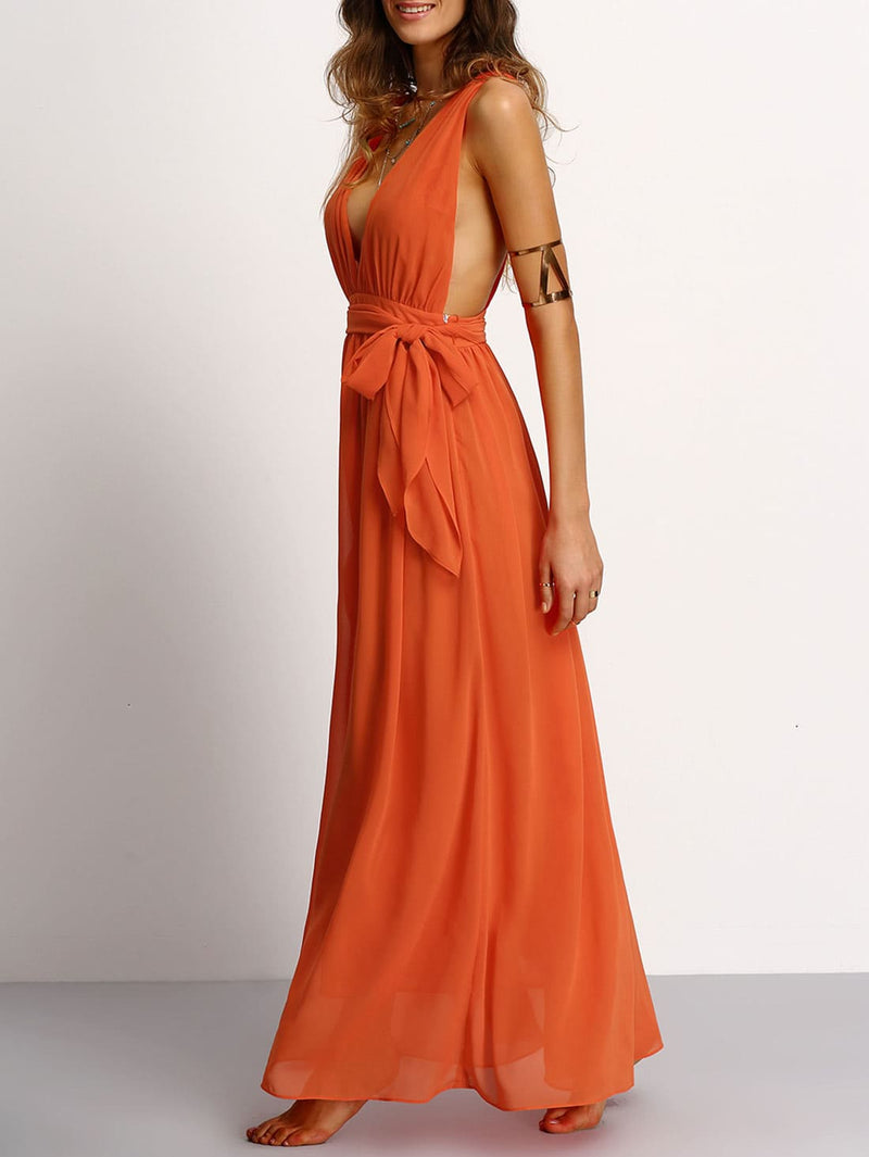 Plunging V-Neckline Tie Waist Maxi Dress