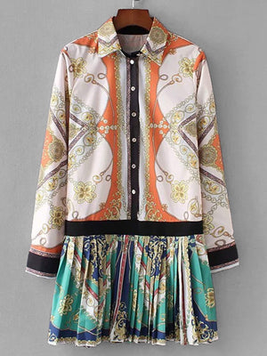 Baroque Print Shirt Dress