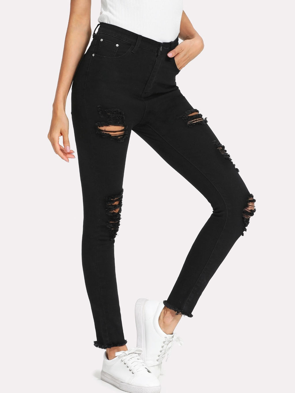 Raw Hem Extreme Distressing Jeans