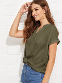 Draped V Neck Plain Top