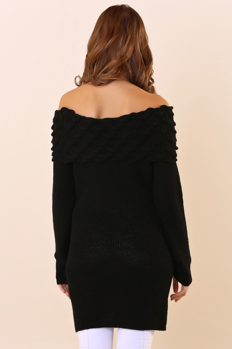 Open Shoulders Black Tricot Sweater