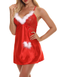 Christmas Criss Cross Contrast Lace Satin Slips With Thong