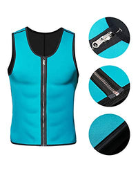 Men Blue Waist Trainer Sauna Tank Top