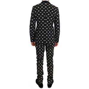 Dolce & Gabbana Black Crown Wool Stretch Slim Fit Suit