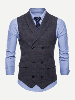Men Plaid Double Breasted Pointed Hem Vest