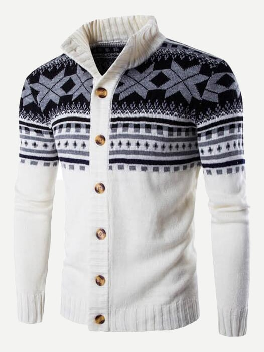 Men Christmas Print Knit Coat