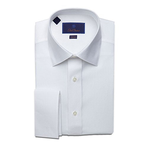 David Donahue Men's Slim Fit Diamond Pattern Formal Dress Shirt, White