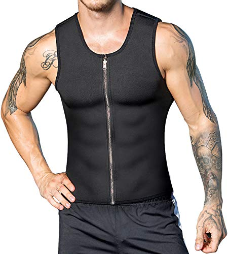Men Black Waist Trainer Sauna Tank Top