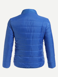 Men Stand Neck Solid Padded Coat
