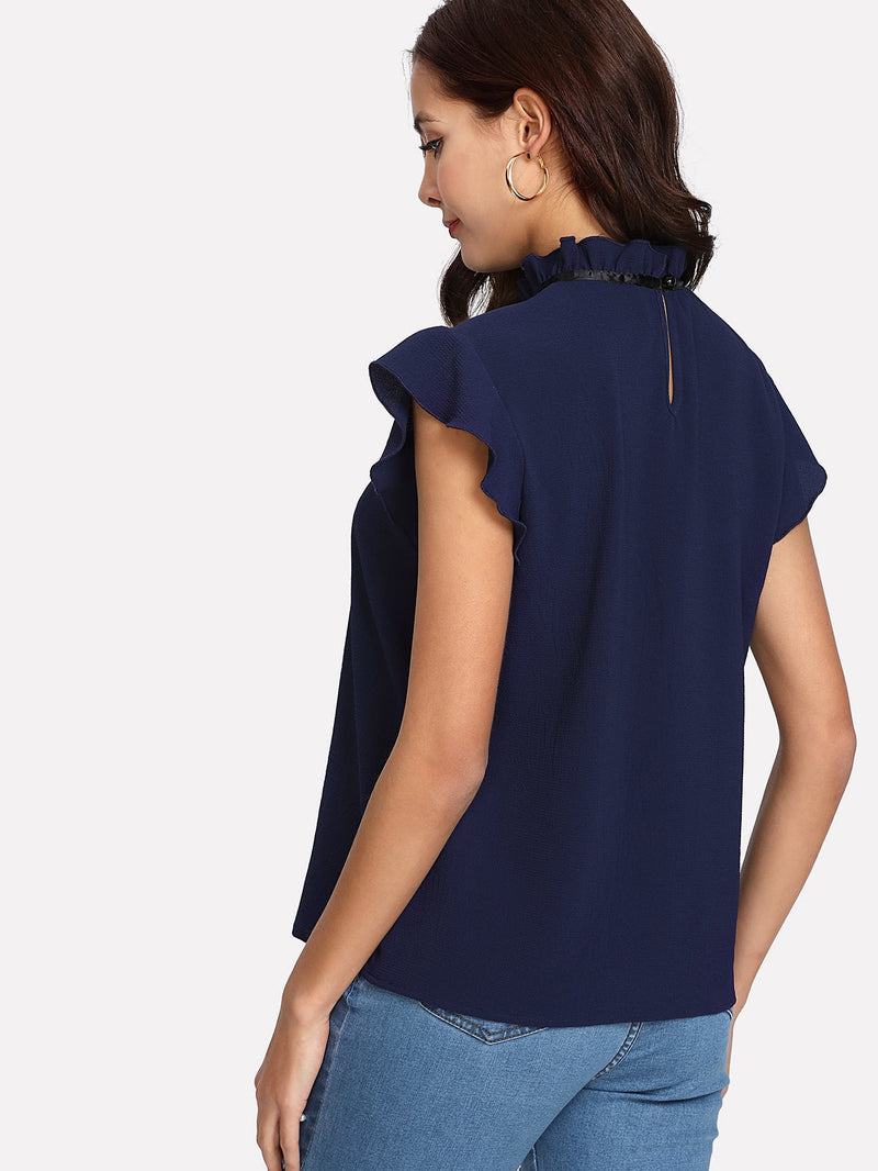 Bow Tied Frilled Neck Button Back Blouse