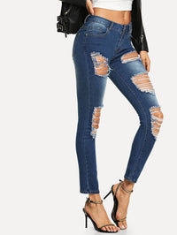 Bleach-Dye Distressed Front Skinny Jeans