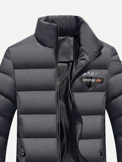 Men Solid Letter Print Padded Coat