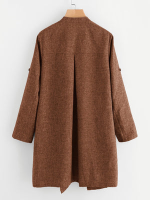 Drape Collar Roll Tab Sleeve Coat