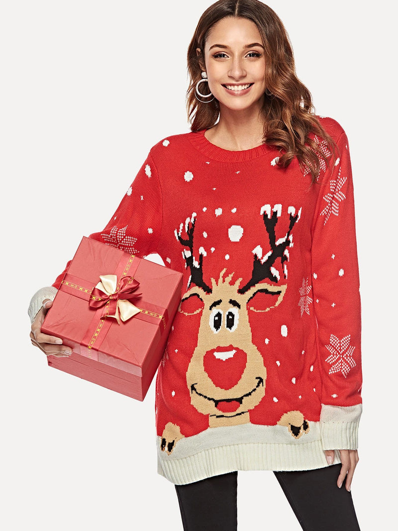 Christmas Print Long Jumper