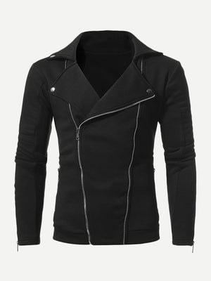 Men Zip Decoration Plain Jacket