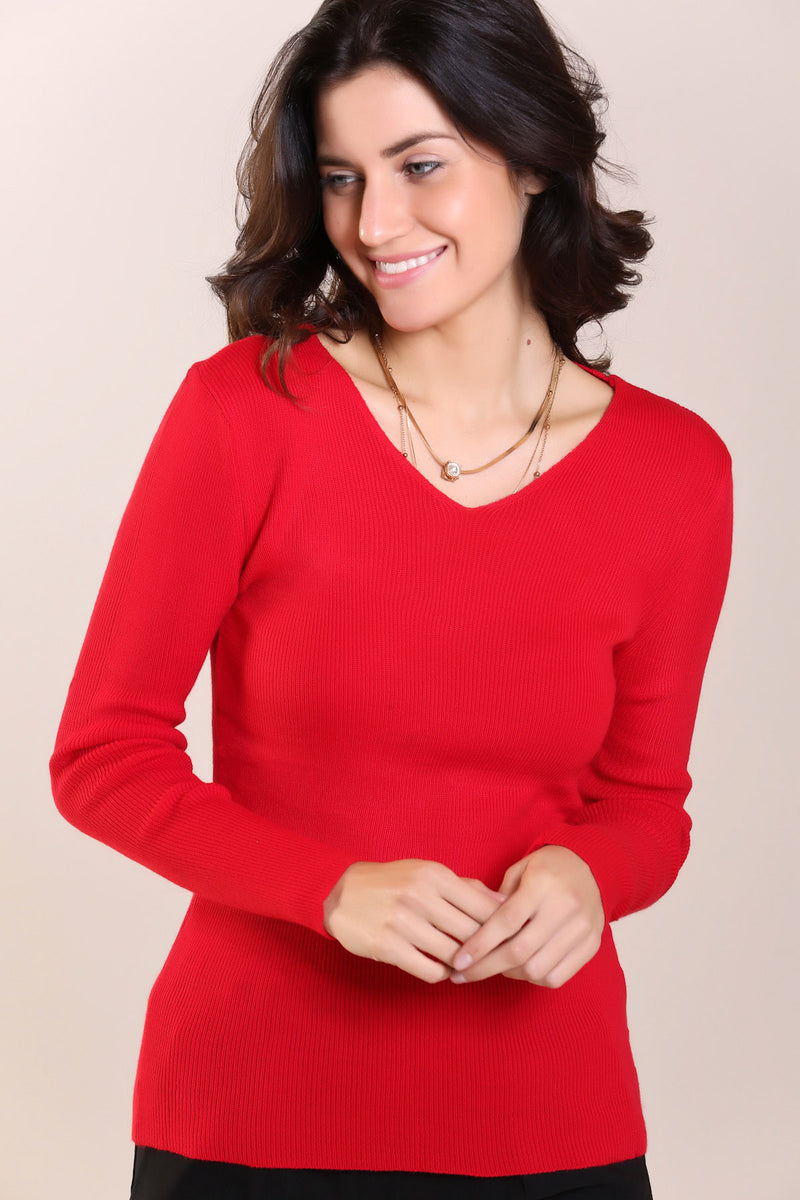 V-neck Coral Plain Tricot Sweater
