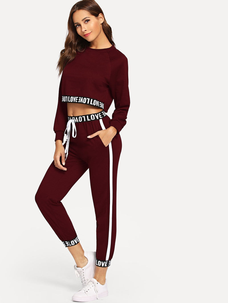 Letter Taped Top With Pants