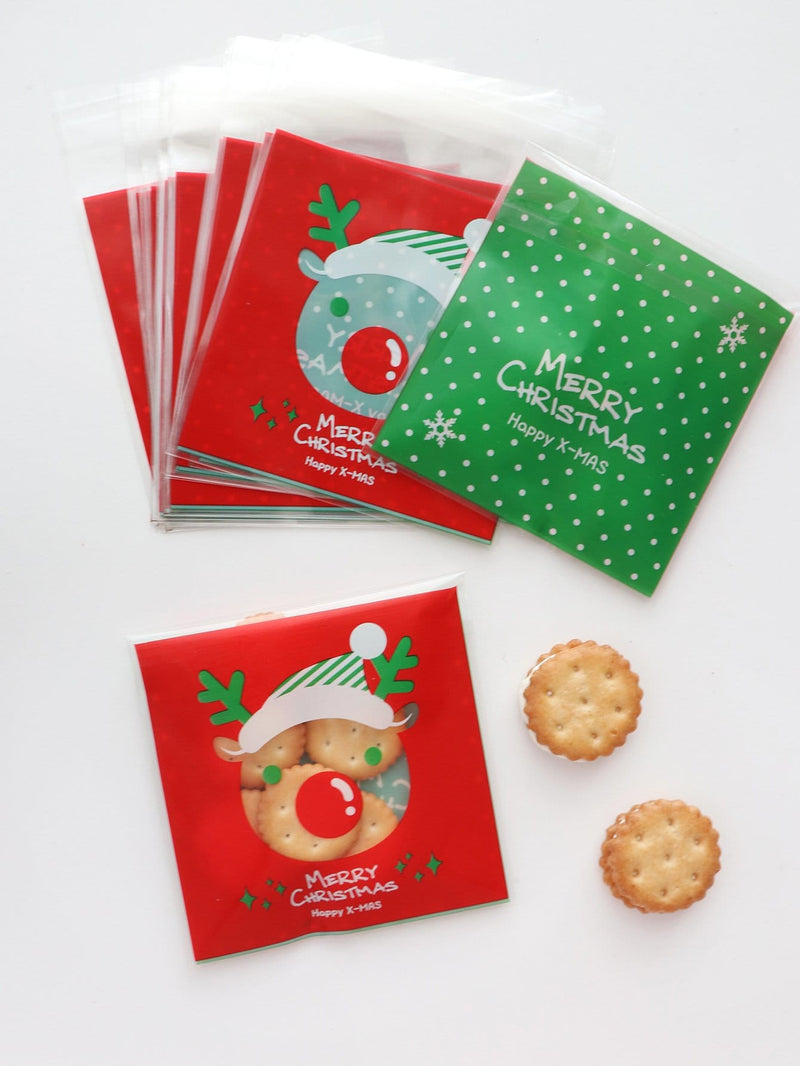 Christmas Slogan Print Cookie Bag 100pcs