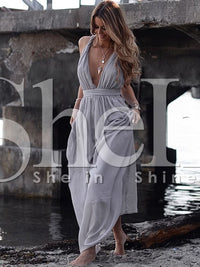 Plunging V-Neckline Maxi Dress
